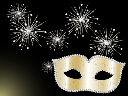 Gold carnival face mask with diamonds and sparklers Vector