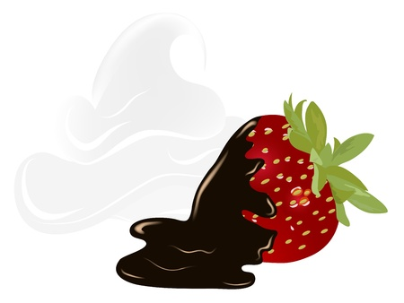 Fresh red strawberry with chocolate and whipped cream Vector