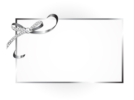 Blank card with silver ribbon with diamonds Vector