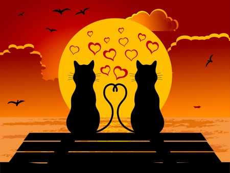 Two cats in love sitting on seaside Vector
