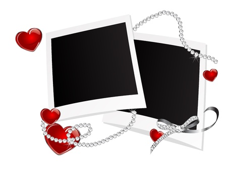 Blank photo frames with hearts and diamonds Vector