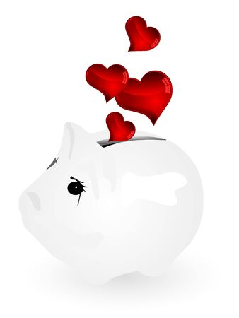 Piggy bank and red hearts as coins Vector