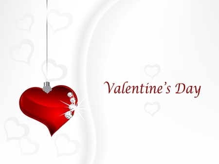 Valentine background with red glass heart and diamonds Vector