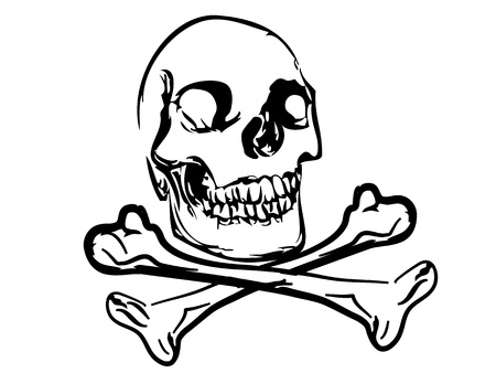 slaughter: Black skull and crossbones on white background Illustration