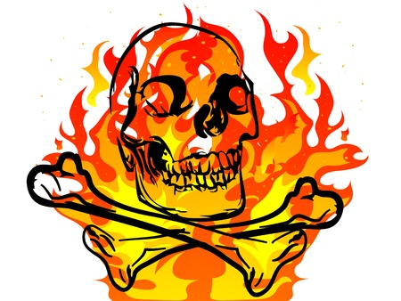 Black skull and crossbones on fiery background Vector