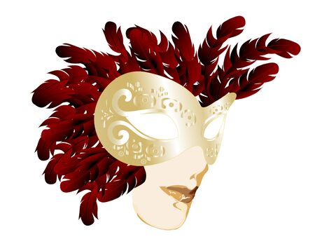 Golden carnival face mask with red feathers