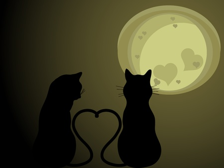 Two cats in love in the sunset Vector