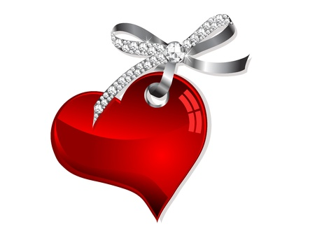 Red heart hanging on silver bow with diamonds