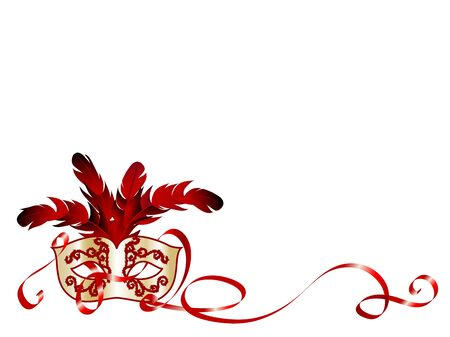 fantasia: Red and gold face mask and red ribbon