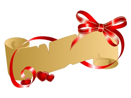 Parchment with red hearts and red ribbon Vector