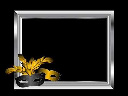 Silver frame on black background with two face masks Vector
