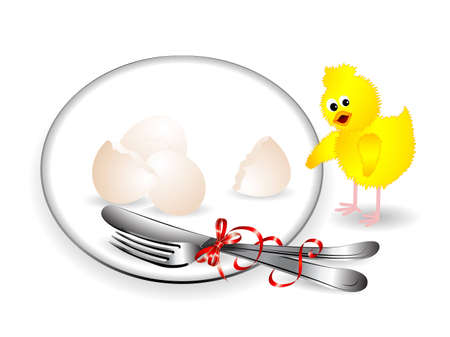 Easter service with setting, eggs and the chick Stock Vector - 12486477