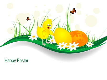 Easter background with chick, eggs and butterflies