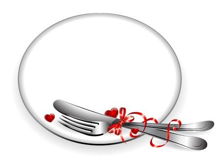 cuchara y tenedor: Marco de plata con la cinta roja y el coraz�n Vectores