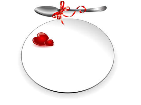 Plate and spoon with red hearts and ribbon Vector