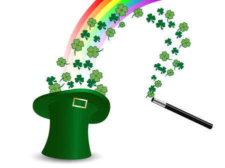 Clovers in St.Patricks hat and the rainbow Vector