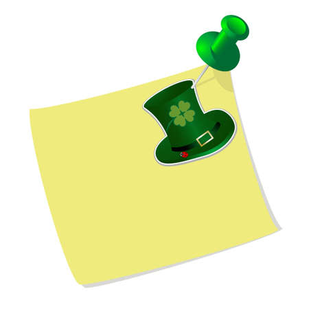 Yellow sticky label with a drawing pin and green hat Stock Vector - 12486524