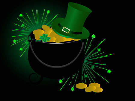 St.Patrick's cauldron, green hat and golden coins Stock Vector - 12486518