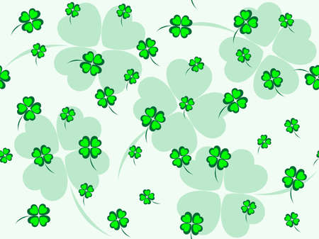 Green seamless pattern with small green clovers Vector
