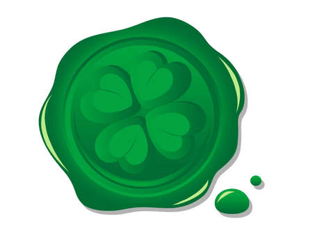 Green wax seal with print of the clover Vector