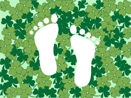 White foot prints in green clover background Vector