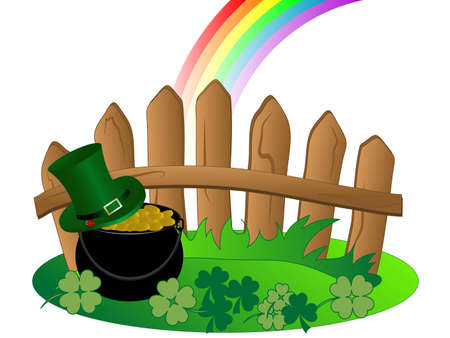 St.Patricks day background with cauldron and money Vector