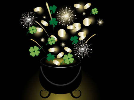 St.Patrick's day background with cauldron and money Stock Vector - 12486687
