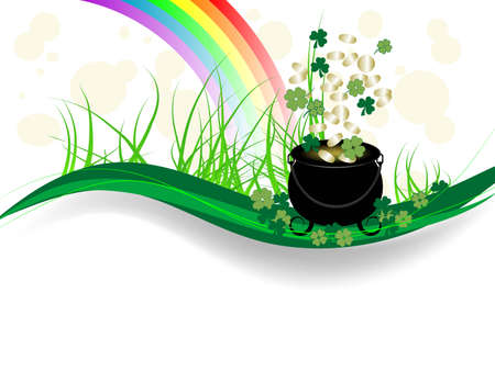 St.Patrick's day background with cauldron and money Stock Vector - 12486681