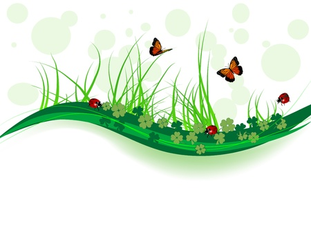 Spring background with clover, butterflies and ladybirds
