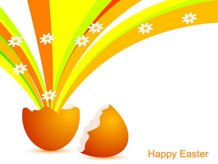 Abstract orange Easter background with egg shell Stock Vector - 12486694