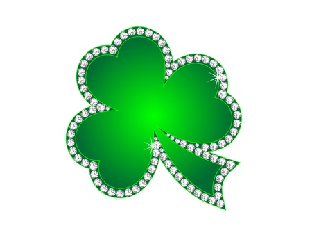 Green shamrock as the jewelry with diamonds Stock Vector - 12486706