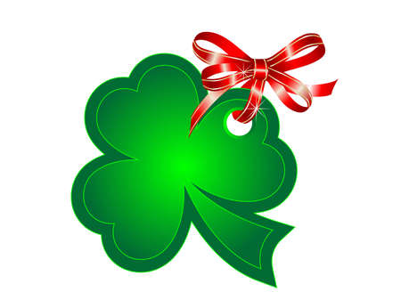 Green St.Patricks shamrock with red ribbon Vector