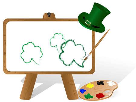 stpatrick: Painter gen canvas and palette with St.Patricks icons