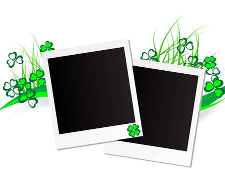 Photo frames on spring background with clovers Stock Vector - 12802059