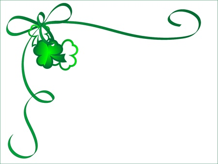 four fourleaf: Abstract corner with green ribbon and two shamrocks Illustration