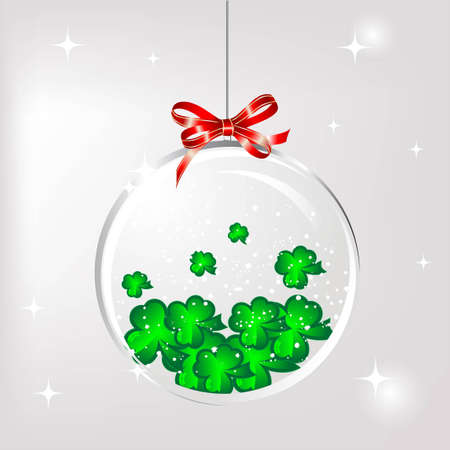 Glass snow ball with the green clovers Vector