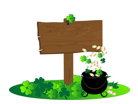 Wooden signboard with clovers and cauldron with money Vector