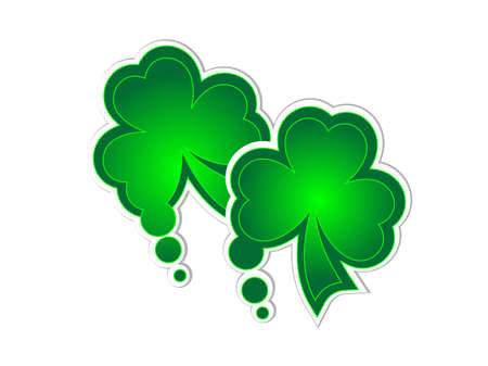 Two green clover stickers as a speech bubbles Stock Vector - 12802063