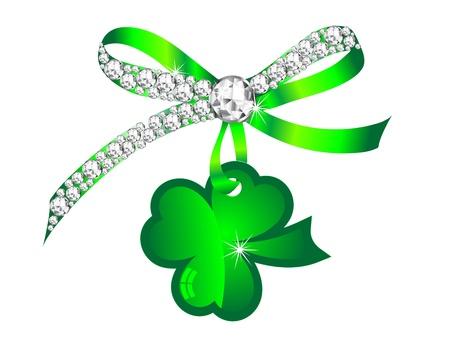 four fourleaf: Silver Diamond nastro con vetro verde trifoglio