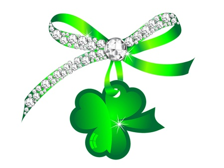 Silver diamond ribbon with glass green clover Vector