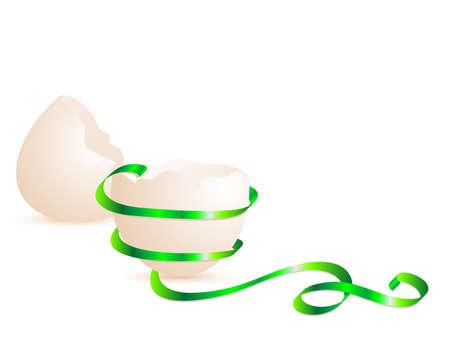 яичная скорлупа: Сломанный яичной скорлупы с вьющимися зеленой лентой