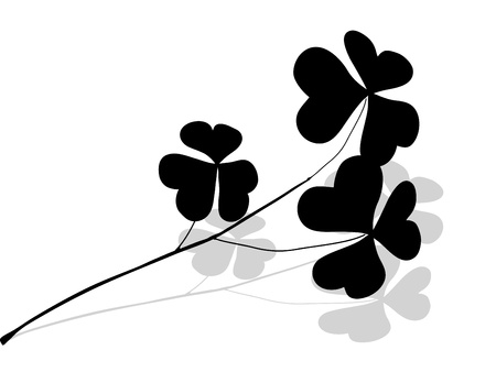 white with black: Black clover twig with grey shadow Illustration