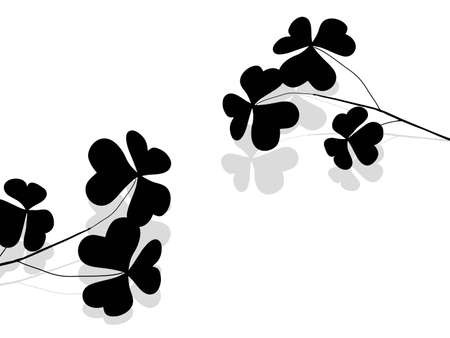 four fourleaf: Black clover twig with grey shadow Illustration