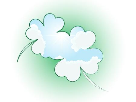 stpatrick: Clover frame with blue cloudy sky inside Illustration