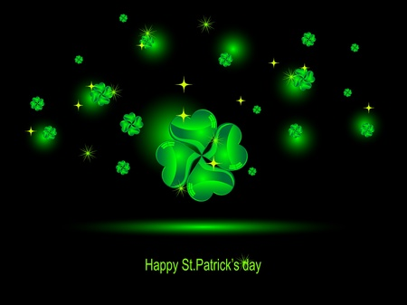 Glass green clovers and stars on black background Vector