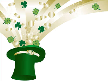 St.Patrick!s green hat and golden coins Vector
