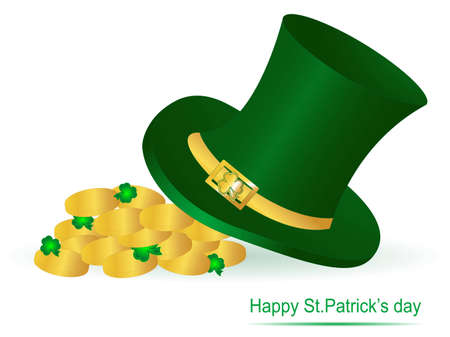 St.Patrick!s green hat and golden coins Stock Vector - 12802072