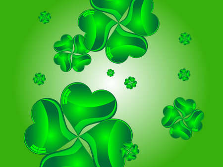 Green abstract background with glass clovers Vector