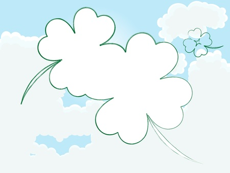 Clover frame on cloudy sky - place for your photo Stock Vector - 12802089