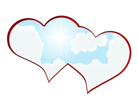 Heart frame on blue cloudy sky  Stock Vector - 12802088